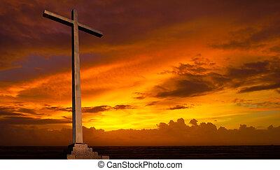 キリスト教徒, バックグラウンド。, sky., 交差点, 宗教, 日没