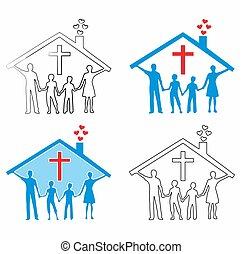 キリスト教徒, 有色人種, family., いっぱいになりなさい, アウトライン