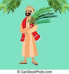 キリスト, 入口, 休日, イースター, 人々, 葉, イラスト, 祝福, イエス・キリスト, エルサレム, 宗教, 日曜日, ベクトル, やし, 挨拶, 人, palmtree, 幸せ, 前に