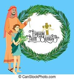 キリスト, 入口, 休日, イースター, 人々, 葉, イラスト, 祝福, イエス・キリスト, エルサレム, 宗教, 日曜日, ベクトル, やし, 挨拶, 子供, 人, palmtree, 幸せ, 前に