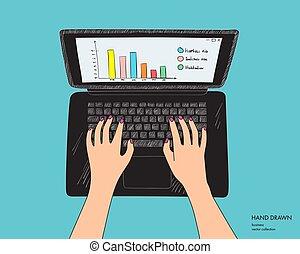 キーボード, 隔離された, 手, 手, 黒, laptop., 背景, 仕事場, 女性, スケッチ, イラスト, working., ベクトル, 白, 引かれる