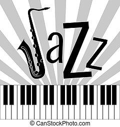 キー, サクソフォーン, インターナショナル, ピアノ, day., ジャズ