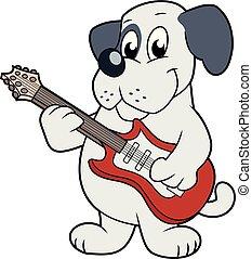 ギター, かわいい, 犬, 遊び