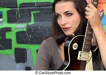 ギター, クローズアップ, 女