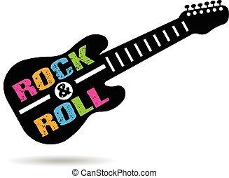 ギター, ロゴ, 回転しなさい, 岩
