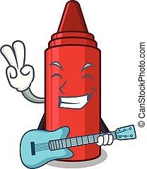 ギター, 袋, クレヨン, 漫画, 赤