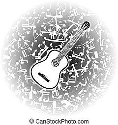 ギター, 音響, メモ, ミュージカル, 背景