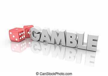 ギャンブル, 単語, さいころ, カジノ, イラスト, チャンス, 取得, 賭け, 3d