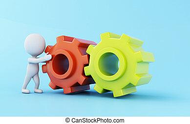 ギヤ, ビジネス 人々, mechanism., 白, 3d