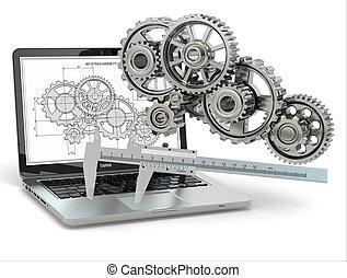 ギヤ, computer-design, trammel, ラップトップ, engineering., draft.