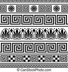 ギリシャ語, ボーダー, ベクトル, セット