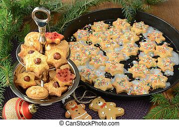 クッキー, 木製である, decoration., テーブル, 焼かれた, クリスマス