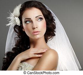クラシック, 離れて, 静寂, 若い見ること, 優しい, wedding., 白, ベール, 花嫁