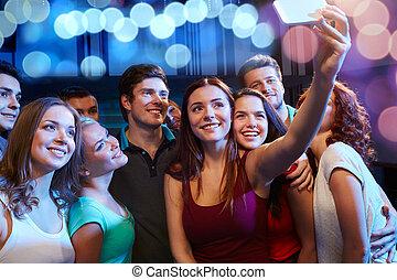 クラブ, 取得, smartphone, 友人, selfie