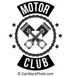 クラブ, 型, サイン, モーター, ラベル