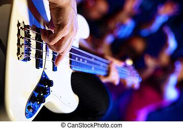 クラブ, 実行, 若い, ギター プレーヤー, 夜