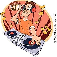 クラブ, 音楽, 2, dj, 遊び