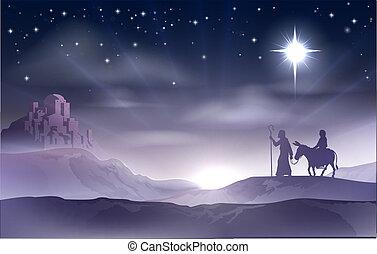 クリスマスのnativity, ヨセフ, mary
