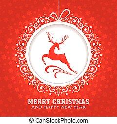 クリスマスカード, 挨拶, 鹿