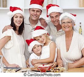 クリスマス, 微笑, べーキング, 家族, ケーキ