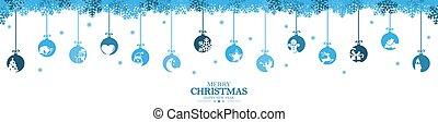 クリスマス, 挨拶, アイコン, 掛かること, 安っぽい飾り