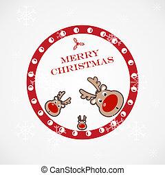 クリスマス, 面白い, イラスト, 鹿