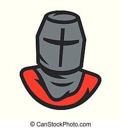 クルセーダー, 騎士, 印。, ベクトル, helmet., illustration.