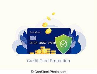 クレジット, セキュリティー, concept., カード