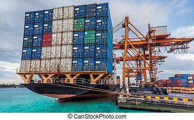 クレーン, 貨物, 仕事, 容器, 貨物, ローディング, 船