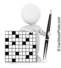 クロスワードパズル, 白, 3d, 人々