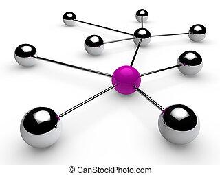 クロム, 紫色, ネットワーク, 3d