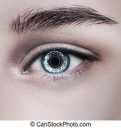 クローズアップ, 女性の目, プロセス, 打撃, scanning.