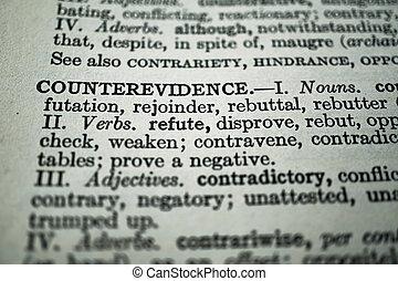 クローズアップ, counterevidence, 単語, シソーラス