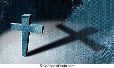 グラフィック, キリスト教徒, 抽象的, 交差点, 長い間, キャスト, 背景, 影