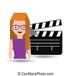 グラフィック, 映画館, クラッパー, 女の子, 漫画, アイコン