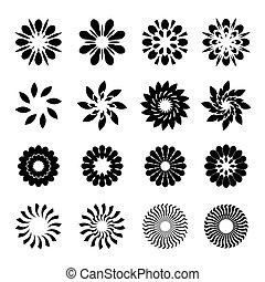 グラフィック, 花, セット, 黒, 星, 幾何学的, 要素