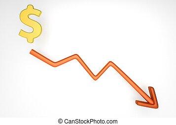 グラフ, シンボル, ドル, 減少