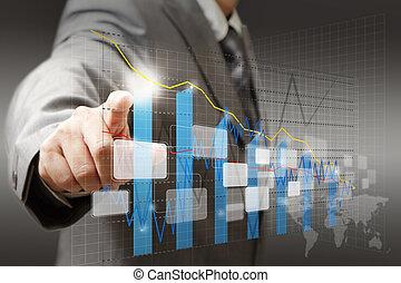 グラフ, 図, ビジネスマン, 感触, チャート, 事実上, 手