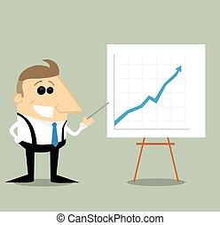 グラフ, 幸せ, プレゼンテーション, 漫画, ビジネスマン