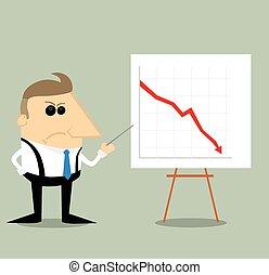 グラフ, 怒る, プレゼンテーション, 漫画, ビジネスマン