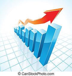 グラフ, 成長, バー, ビジネス, 3d