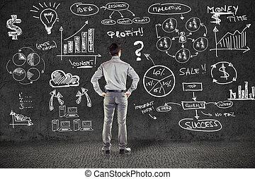 グランジ, ビジネス, 壁, 計画, スーツ, ビジネスマン