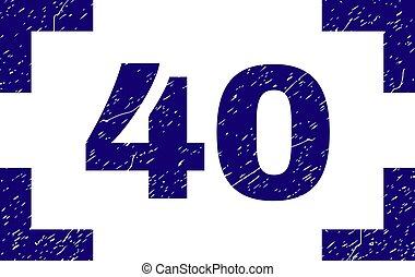 グランジ, 切手, コーナー, 中, シール, 40, textured