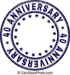 グランジ, 切手, シール, 記念日, 40, textured, ラウンド