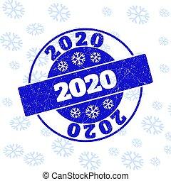 グランジ, 切手, ラウンド, 2020, シール, クリスマス