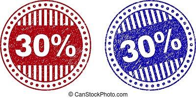グランジ, 切手, ラウンド, textured, シール, 30%