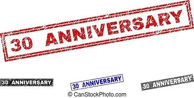 グランジ, 切手, 30, 記念日, シール, textured, 長方形