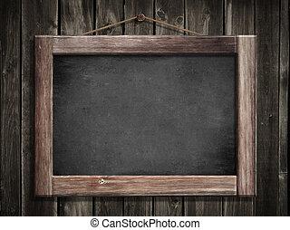 グランジ, 木製である, 黒板, 壁, 背景, 掛かること, 小さい, メッセージ, あなたの