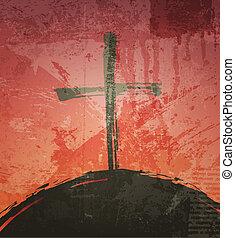 グランジ, 聖書, concept., 交差点, バックグラウンド。, 日没