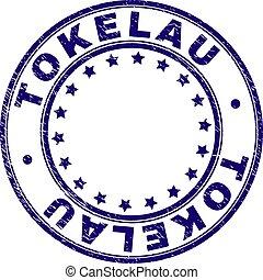 グランジ, tokelau, textured, 切手, シール, ラウンド